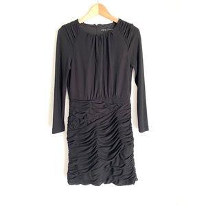 ZARA Black Draped Long Sleeve Cocktail Dress